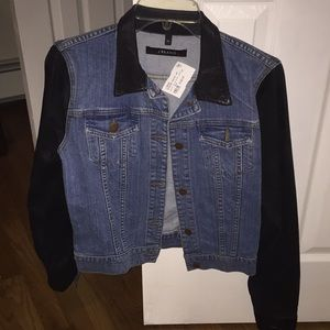 J Brand Jean jacket with black coated arms